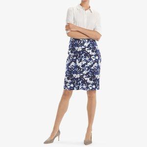 NWT MM LaFleur Blue & Ivory Pencil Skirt